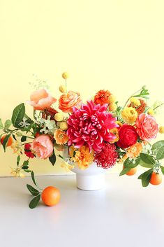 Shop Fake Flowers and Artificial Fruit Branches at Afloral.com to Design Your Very Own Citrus-Inspired Wedding Centerpiece. Wedding Reception Centerpieces, Diy Centerpieces, Wedding Table Centerpieces, Wedding Table Settings, Wedding Bouquets, Wedding Flowers, Fake Flowers, Artificial Flowers, Florists