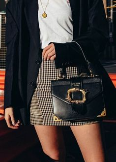 How to style a plaid skirt with a blazer
