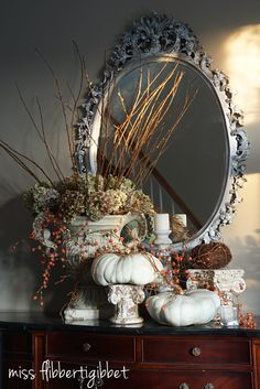 dried hydrangeas, white pumpkins - miss flibbertigibbet
