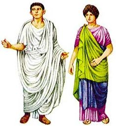 Male Roman citizens wore toga's that draped over the left shoulder.  Women wore tunics, with a palla over the tunic.