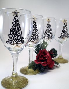 Christmas WIne Glasses hand painted   with Swarovski crystals . set of four on Etsy, $65.00