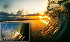 CATCH THE WAVE....Images of sunset captured from INSIDE a wave by surf instructor