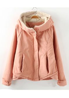 Pink Plain Long Sleeve Cotton Blend Padded Coat