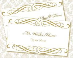 DIY Printable Wedding Place / Escort Card Template (tented) | Instant Download | Calligraphy in Gold
