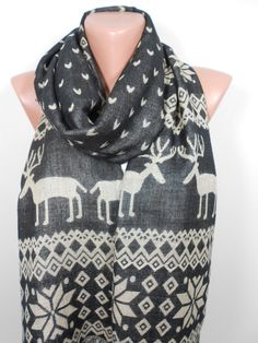 Nordic Scarf Oversize Scarf Men Women Scarf Deer Infinity Scarf Winter Holiday Fashion Accessories Christmas Gift Ideas For Her For Him by ScarfClub on Etsy https://www.etsy.com/listing/203980564/nordic-scarf-oversize-scarf-men-women