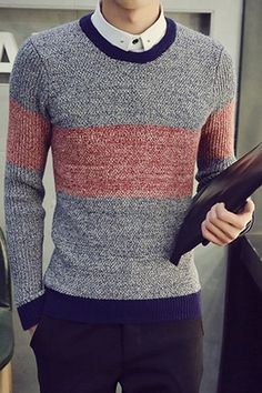 Round Neck Color Block Splicing Knitting Long Sleeve Solid Color Sweater For Men