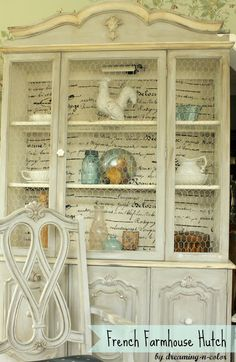 dreamingincolor: French Farmhouse Hutch - Chicken wire, fabric, multi-layered paint - old white and paris with a loose brushstroke and blending the two slightly. Hutch Makeover, Furniture Makeover, Hutch Redo, Farmhouse Furniture, Shabby Chic Furniture, Dream Furniture, French Furniture, Kids Furniture, Furniture Making