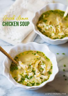 Greek Lemon Chicken Soup ~ Addictive and Healthy, can't wait for fall to make!  Or, any day!  By  ASpicyPerspective.com
