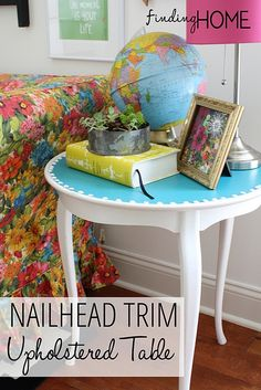 NailheadTrimUpholsteredTable diy table for a steal.