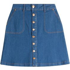 Hugo Button Front Jean Skirt ($104) ❤ liked on Polyvore featuring skirts, mini skirts, bottoms, saias, clothes - skirts, blue, blue skirt, hugo, button front skirt and blue mini skirt