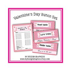 ITEM DESCRIPTION: Celebrate Valentines Day in style at your Bunco party. These table tents and matching score cards are designed with hearts and