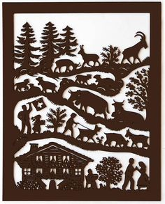 Poya decoupage wooden High on the mountain Silhouette Cutter, Silhouette Painting, Silhouette Portrait, Decoupage, Fairy Tale Theme, Cut Out Art, German Folk, Wallpaper Stencil, Paper Artwork