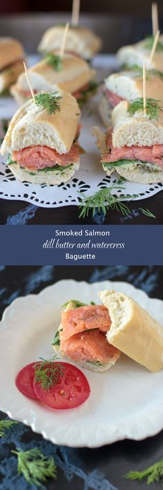 Smoked salmon baguette.  Delicious, sophisticated, and easy. That's what we all need this time of year. Party bite, brunch, lunch, you name it! #salmon #smokedsalmon #dill #baguette #watercress #dijon