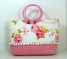 Pink Roses Purse Tote  with Sweet White Ball Fringe, UPCYCLED from a vintage quilt