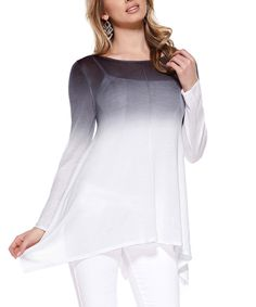 Love this!  Another great find on #zulily! Belldini Dark Night & White Ombré Sidetail Tunic by Belldini #zulilyfinds