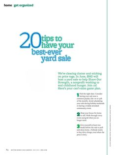 BHG 20 tips for the best ever yard sale