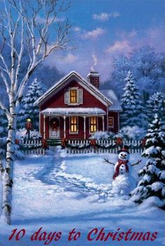 Corbert Gauthier - Little Red House and Snowman Christmas Mantels, Christmas Scenes, Christmas Past, Country Christmas, Christmas Pictures, Winter Christmas, Vintage Christmas, Christmas Cards, Christmas Ideas