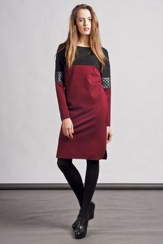 Weinrotes Kleid mit schwarzem Leder / wonderful ruby dress with black leather by Lanti via DaWanda.com
