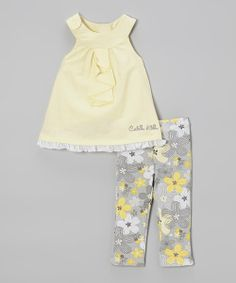 Take a look at the Calvin Klein Layette Yellow Ruffle Tunic & Floral Leggings on #zulily today!