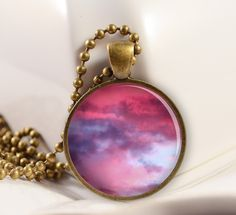 Pink Clouds Resin Pendant, Resin Jewelry, Pendant Charm C60B. $9.50, via Etsy.
