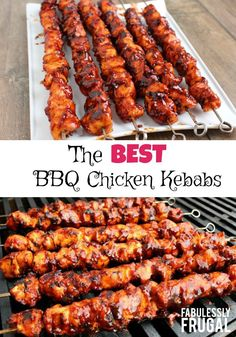 The Best BBQ Chicken Kebabs - - The Best BBQ Chicken Kebabs ESSEN_Grillen, Smoken . The only BBQ Chicken Kebabs recipe you need! This isn't your ordinary barbecue chicken. In fact, these BBQ Chicken Kebabs are the best barbecue chicken I'v Barbecue Recipes, Grilling Recipes, Cooking Recipes, Best Bbq Recipes, Grilled Chicken Recipes, Best Chicken Recipes, Fried Chicken, Best Bbq Chicken, Chicken Skewers