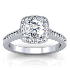 Cushion Cut Moissanite Vintage Halo Engagement by GerryTheJeweler