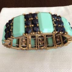 BOGO SALE❄️J. Crew Bracelet NWOT J. Crew factory bracelet. Mint green and navy jewels. Never worn. J. Crew Jewelry Bracelets