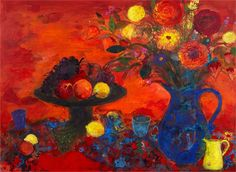 Ann Oram, Autumn still life. The artist was particularly inspired by Gillies, Ann Redpath and Sir Robin Philipson, who was Head of School at the time. Flower Art, Still Life, Robin, Vibrant Colors, Ann, Autumn, Inspired, School, Artist
