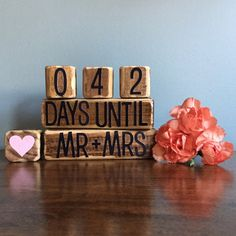 """Useful gifts for the newly engaged! Could also rotate the middle block and paint it saying """"years of being"""" so it can be an anniversary gift as well!"""