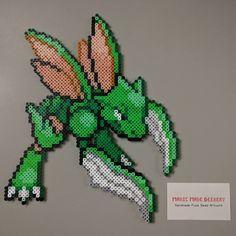 Scyther (Pokémon) perler beads by manicmadegeekery