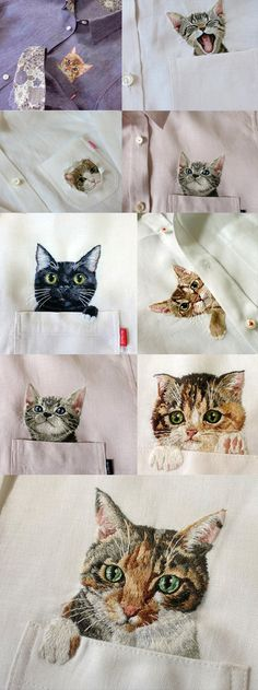 Shirts for cat lovers - Camisas bordadas para amantes de los gatos