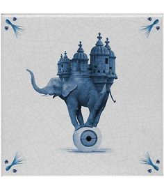 Modern Contemporary Wall Hanging Art Decor Portuguese Tile - The Elephant Portuguese Tiles, Contemporary Wall Art, Hanging Art, Wall Art Decor, Surrealism, Elephant, Home, Painting, Places