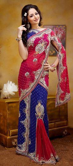 $223.41 Pink and Blue Georgette Stone Work Wedding Lehenga Saree 22823