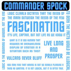 Ah, Mr.Spock... loving the logic.