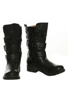 8d53a8dd58e Black 3 Strap Buckle Boot
