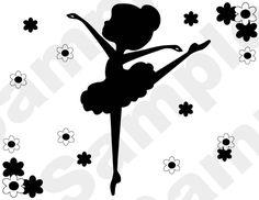 PINK or BLACK #BALLERINA #SILHOUETTE baby girl nursery kids wall room border stickers #decals.
