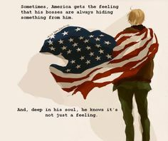 i like america's character a lot, actually.  he isn't so much the country the way others view it, so much as what the country represents - the people and its ideals of freedom and such.  I love America, even if it was written with stereotype humor.