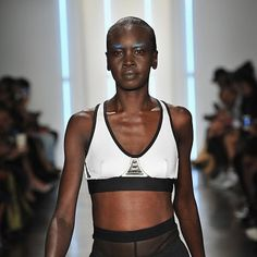Alek Wek wore the Chromat sports bra during New York Fashion Week. The collaboration with Intel resulted in a 'transformer' bra that is able to monitor body temperature and sweat, if it determines the wearer is too hot, vents automatically open. The power of Intel Curie is what's most impressive, I'm not sure it's a vital gym kit item. Also when you compare to what Stella McCartney has been doing with Adidas, I have to question the aesthetic of this... #intel #bra #chromat #nyfw #fashion…