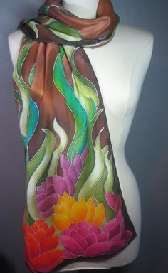 Earth Lilies made to order habd painted silk scarf.