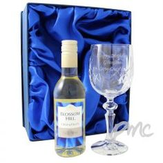 Personalised White Wine & Crystal Goblet Set