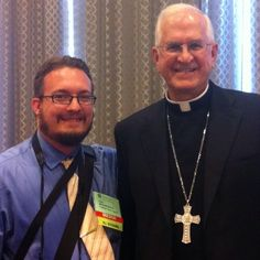 Here's our reporter with the president of the USCCB, Archbishop Kurtz of #Louisville #Kentucky! Someone offered to take the photo for them so it's not an actual #selfie but we think it still counts! Do you? #selfieswithbishops #Catholic #Church #faith