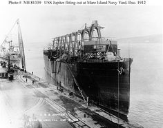 Collier USS Jupiter -- the future aircraft carrier USS Langley -- fitting out at Mare Island Naval Shipyard, California, 1912.