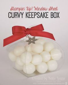 Stampin' Up! Easy Christmas Treat Box | Window Sheet Curvy Keepsake Box | Created By Katie Legge #Christmas #StampinUp #CurvyKeepsake http://rachelleggestampinup.wordpress.com/2014/12/13/easy-window-sheet-curvy-keepsake-christmas-treat-box/