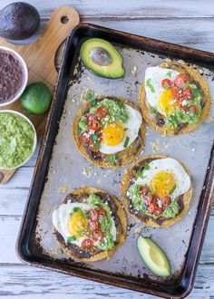 These Huevos Rancheros Tostadas with Avocado Salsa Verde are the ultimate breakfast, brunch or brinner recipe! Super quick and easy to make. My whole family loves these! white christmas,breakfast and brunch Yummy Recipes, Mexican Food Recipes, Cooking Recipes, Yummy Food, Roast Recipes, Turkey Recipes, Bread Recipes, Soup Recipes, Chicken Recipes