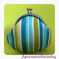 FREE SHIPPING - Handmade small coin purse with blue stripe on Etsy, $159.24 HKD