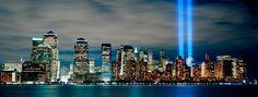 Lower Manhattan With 9/11 Towers Of Light via MuralsYourWay.com