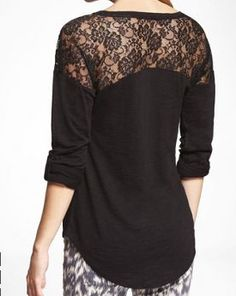 Express Rolled Sleeve Lace Inset Tee in white or plum $19.90