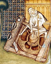Potter at his wheel, late 14th century © BNF (ms. Fr. 22912, f° 227 v°) #potter #wheel #period #SCA