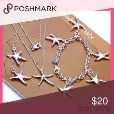 💕Starfish Jewelry set💕 This is a gorgeous gift set of 925 Silver Filled Starfish Necklace, Bracelet & Earrings. Brand new with gift box. Starfish Necklace, Silver Pendant Necklace, Sterling Silver Necklaces, Necklace Chain, Silver Jewellery, Silver Earrings, Women's Jewelry Sets, Women Jewelry, Jewelry Making
