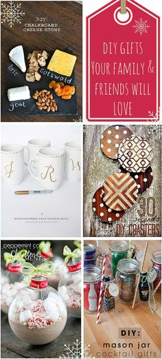 Struggling to think of gifts to buy for friends and family? Then why not get crafty and create your own! Cocktail Gifts, Diy Chalkboard, Diy Christmas Gifts, Seasonal Decor, Diy Gifts, Create Your Own, Mason Jars, Seasons, Gift Ideas